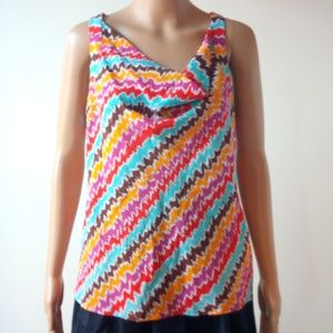 Trina Turk 100% Silk Printed Top Size M